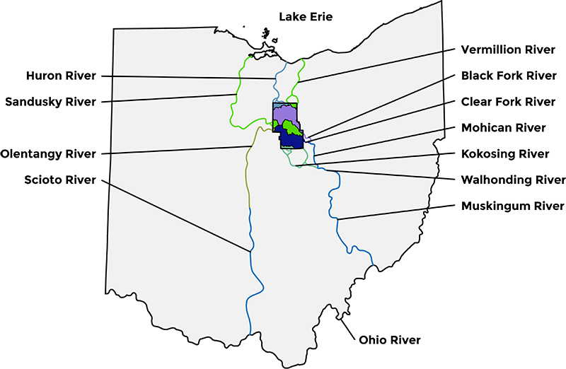 Map showing where the water from Richland County flows through the state of Ohio.