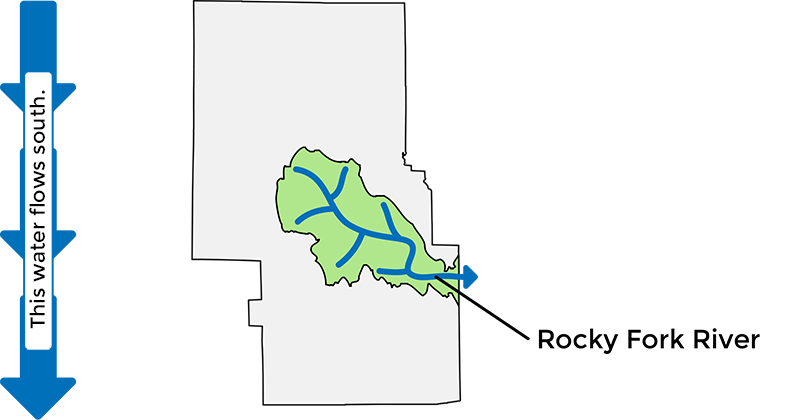 Map showing the Rocky Fork Watershed